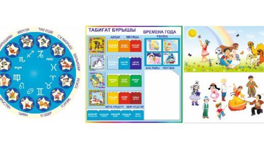 Стенды для детского сада, детский стенд, гороскоп на казахском, персонажи [CDR]