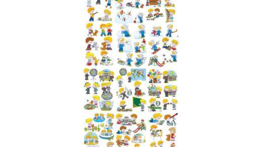 70 детей в векторе ( школа, время года, увлечения, игры) для Казахстана РК [CDR]