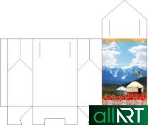 Треугольная бонбоньерка шаблон с казахским орнаментом для кыз узату, үядан үшқан күн, сырға салу в векторе [CDR]