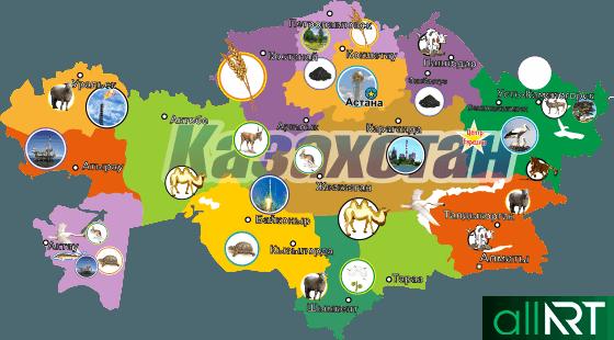 Карта Казахстана с областями в векторе [CDR]