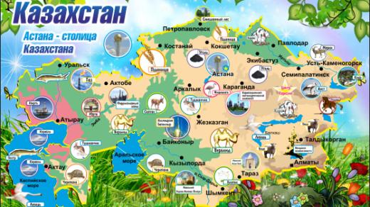 Карта Казахстана в векторе с рисунками [CDR]