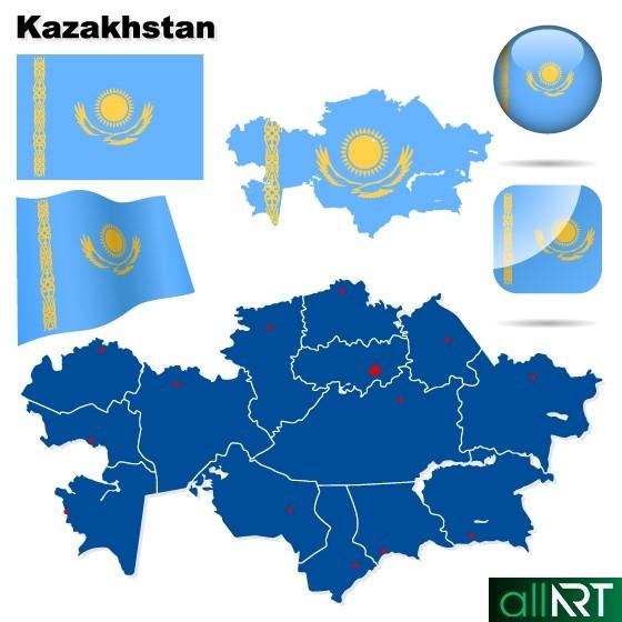 Карта Казахстана в векторе [EPS]
