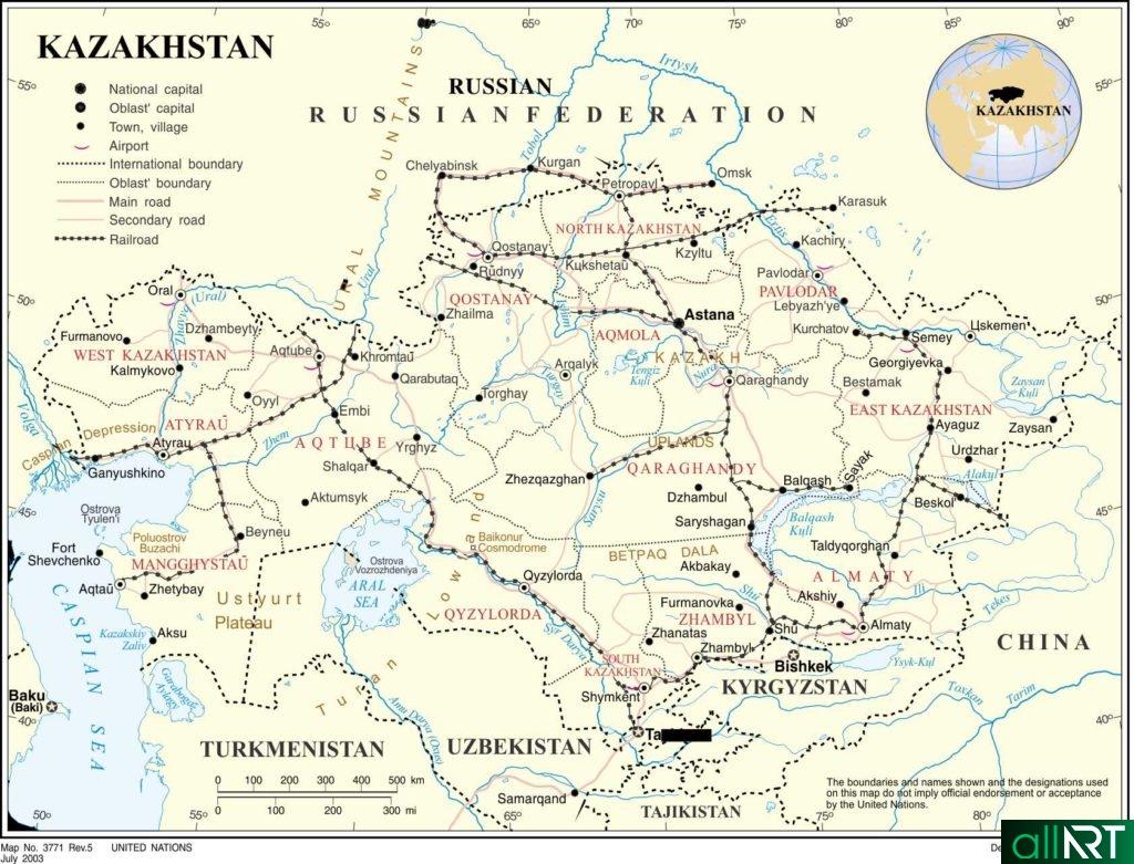 Карта железных дорог Казахстана на английском [CDR]