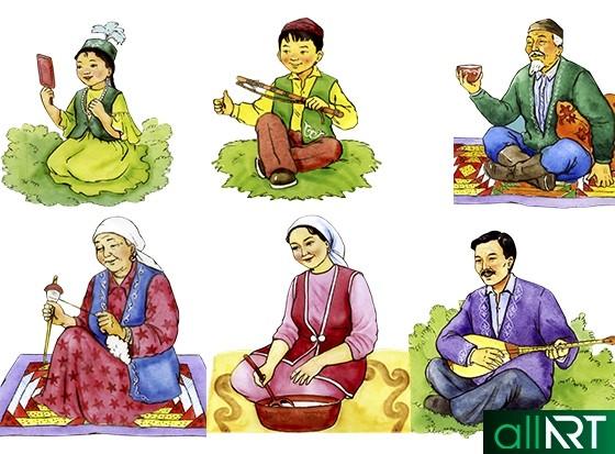 Казахи в национальной одежде, рисунки казахов [JPG]