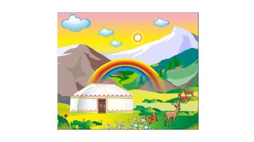 Наурыз, юрта, горы Казахстана вектор [CDR]
