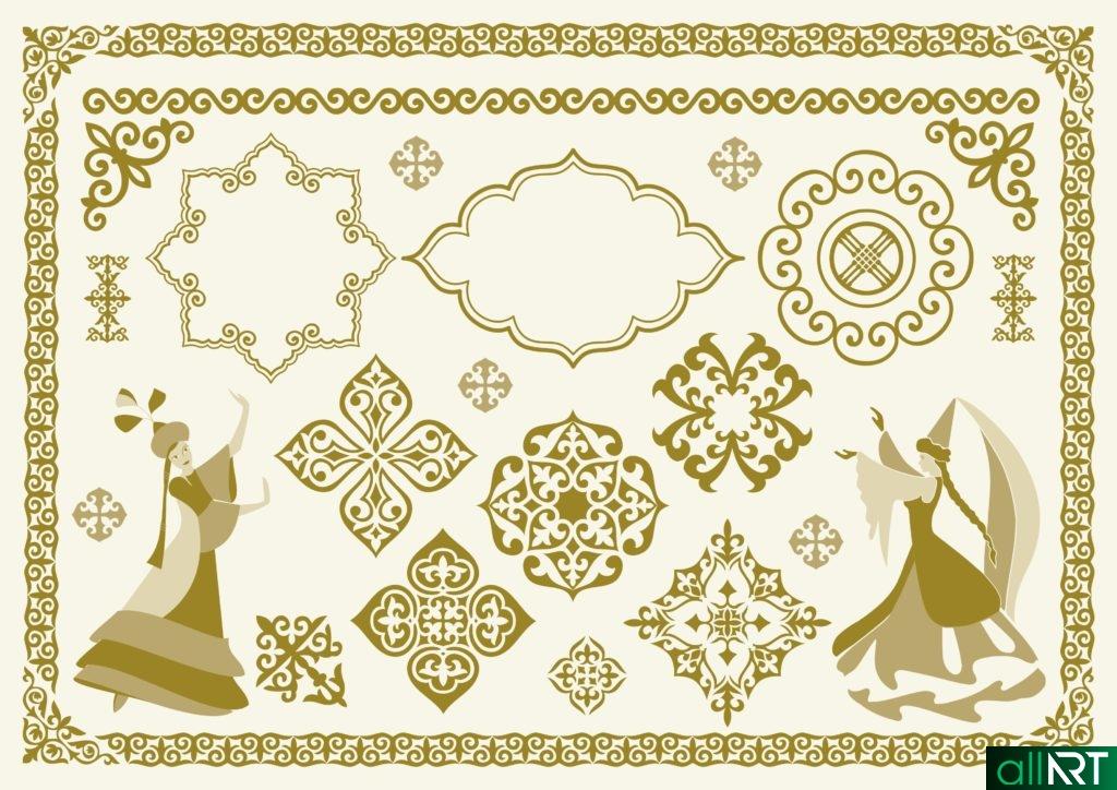 Казахские орнаменты, узоры, девушка в векторе [CDR]