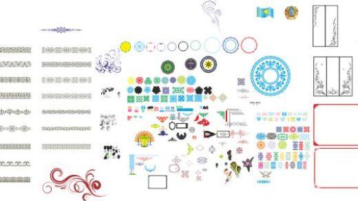 Казахские орнаменты, узоры, рамки с казахскими орнаментами в векторе [CDR]