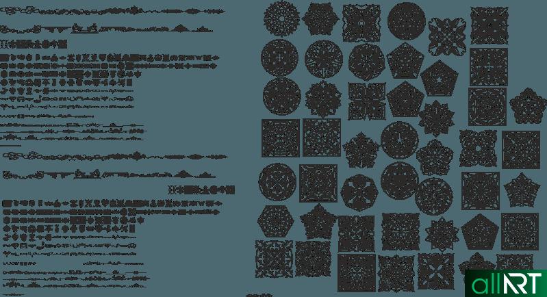 Казахские орнаменты, для пригласительных, грамот [CDR]