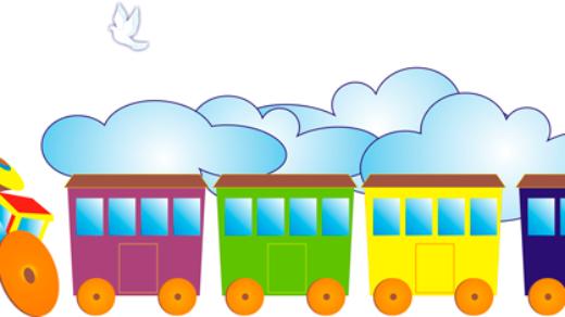 Стенд в виде паровоза в детский сад в векторе [CDR]