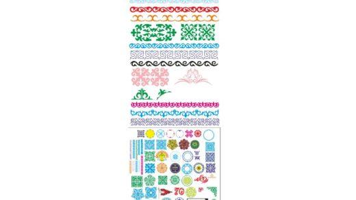 Большой пак красивые казахские орнаменты в векторе, орнаменты для оформления грамот, сайта, подушек,