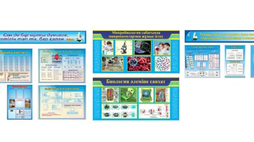 Стенды для казахской школы, математика, биология, русский язык в векторе [CDR]