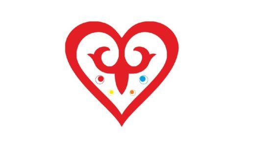 Сердце с казахским орнаментом в векторе [CDR]