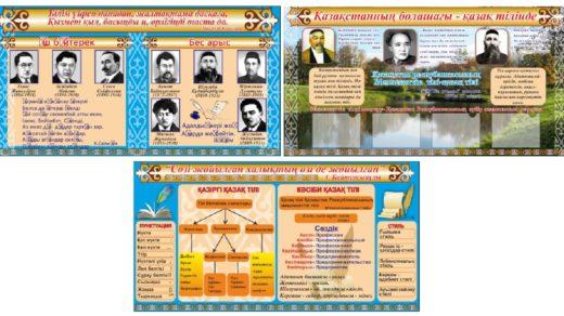 Стенд для кабинета казахской литературы, математики,казахского языка писатели Казахстана, [CDR]