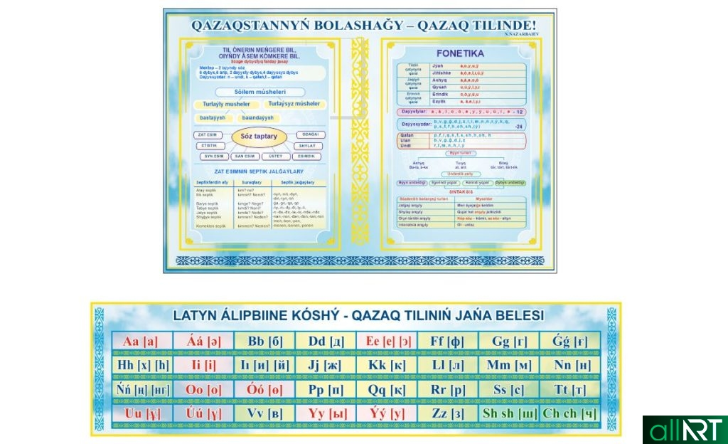 Стенд казахский язык грамматика на латинице, алфавит на латинице [CDR]