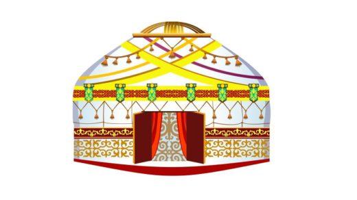 Казахская юрта с орнаментами в векторе [CDR]
