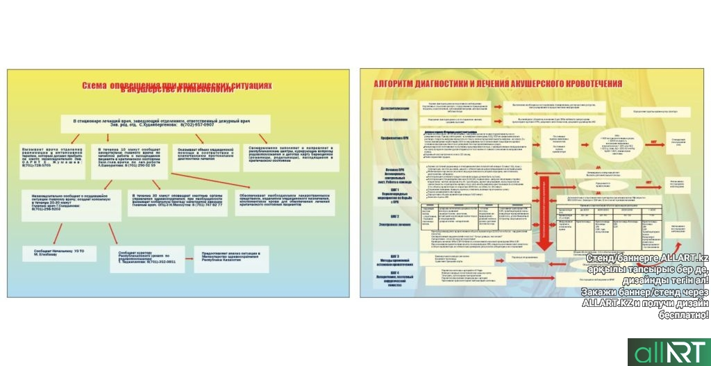 Стенд алгоритм диагностики и лечения акушерского кровотечения, схема оповещения при критических ситуациях [CDR]