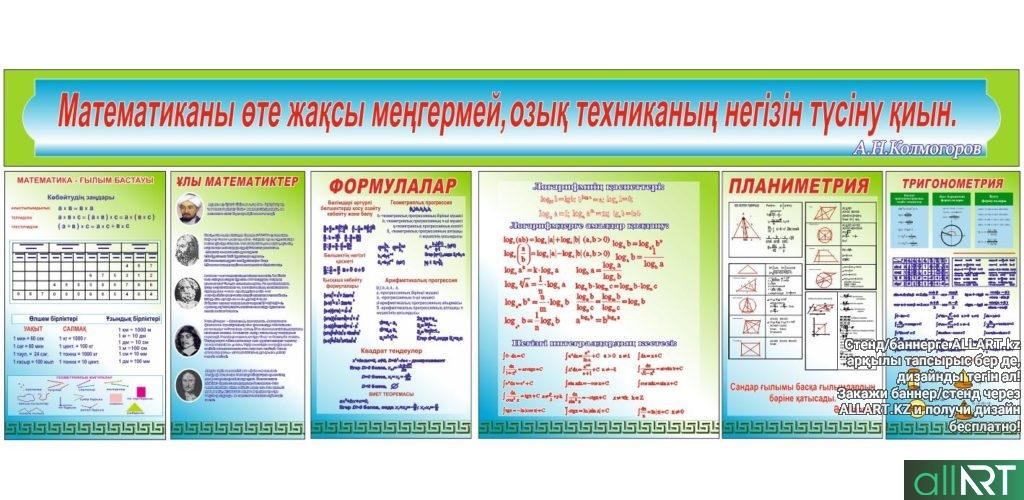Стенд по математике, формулы, тригонометрия, планиметрия, тригонометрия [CDR]