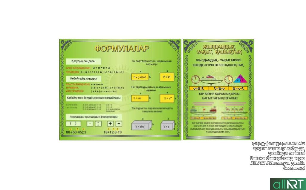Стенд начального класса формулар, жылдамдық, уақыт, қашықтық [CDR]