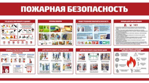 Стенд пожарная безопасность на предприятии, действие при пожаре в общественном месте, общие требования ПБ, действия при пожаре в помещении массового скопления людей [CDR]