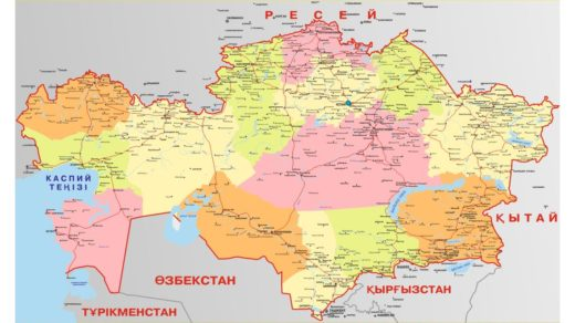 Карта Казахстана на казахском в кривых [CDR]