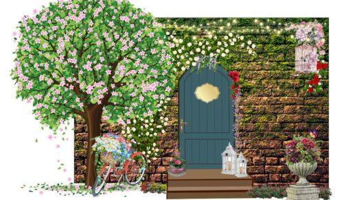 Фотозона каменная стена с цветами, дверью [CDR]