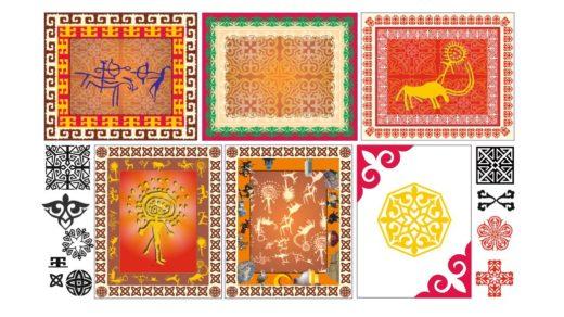 Казахские орнаменты с петроглифами, наскальные рисунки Казахстана, пещерная живопись [CDR]