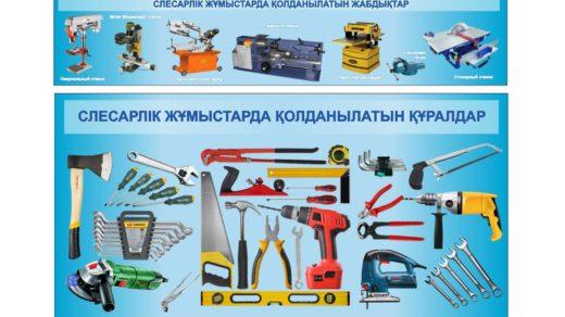 Стенд слесарлік жұмыстарда қолданылатын құралдар, инструменты для слесарных работ [CDR]
