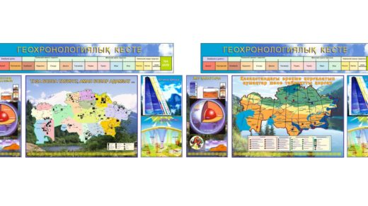 Карта Казахстана полезные ископаемые для кабинета географии [CDR]