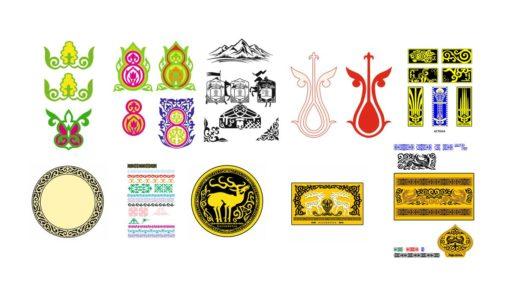 Орнаменты для печати на брелоках, флешках и прочих изделиях, казахстанская сувенирная символика [CDR]