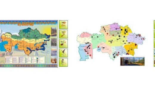 Стенд карта Казахстана заповедники и парки [CDR]