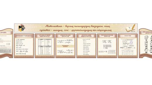 Стенд для кабинета математики, алгебра, функции, прогрессия, формулы, геометрия [CDR]