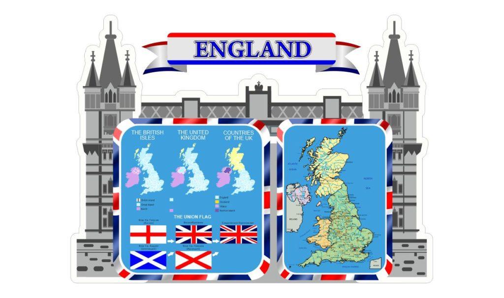 Стенд в виде замка и карта Англии для английского языка [CDR]