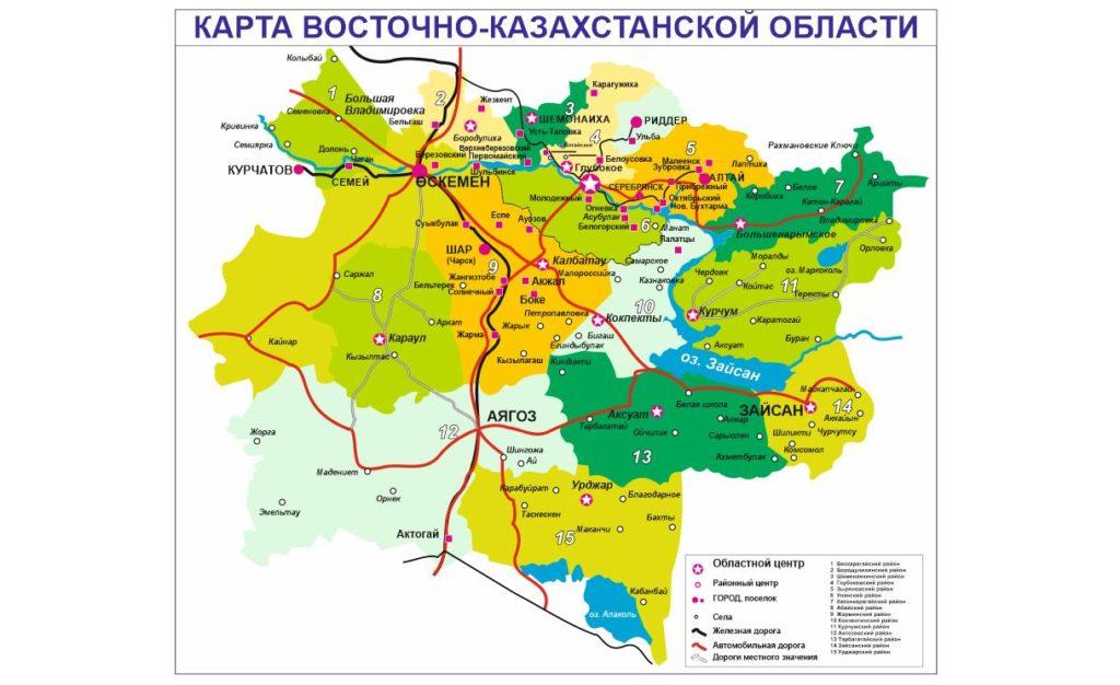 Карта ВКО с новыми названиями населенных пунктов в векторе [CDR]