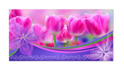 8 наурызға арналған қызғылт қызғалдақ баннері, баннер с розовыми тюльпанами на 8 марта [CDR]
