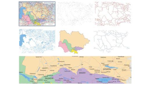 Векторная карта центральной Азии с названиями городов, дорог, рек [CDR]